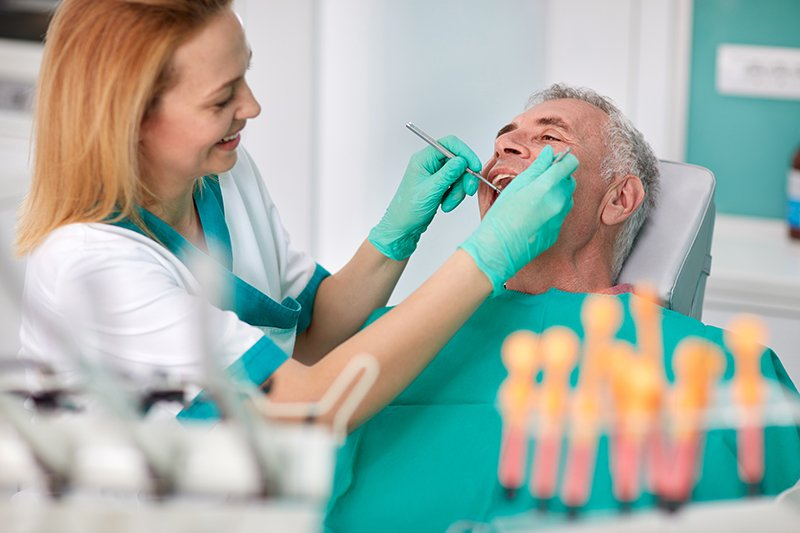 Senior male on check up at dentist